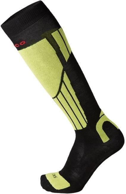 Černo-žluté lyžařské podkolenky Mico - velikost S