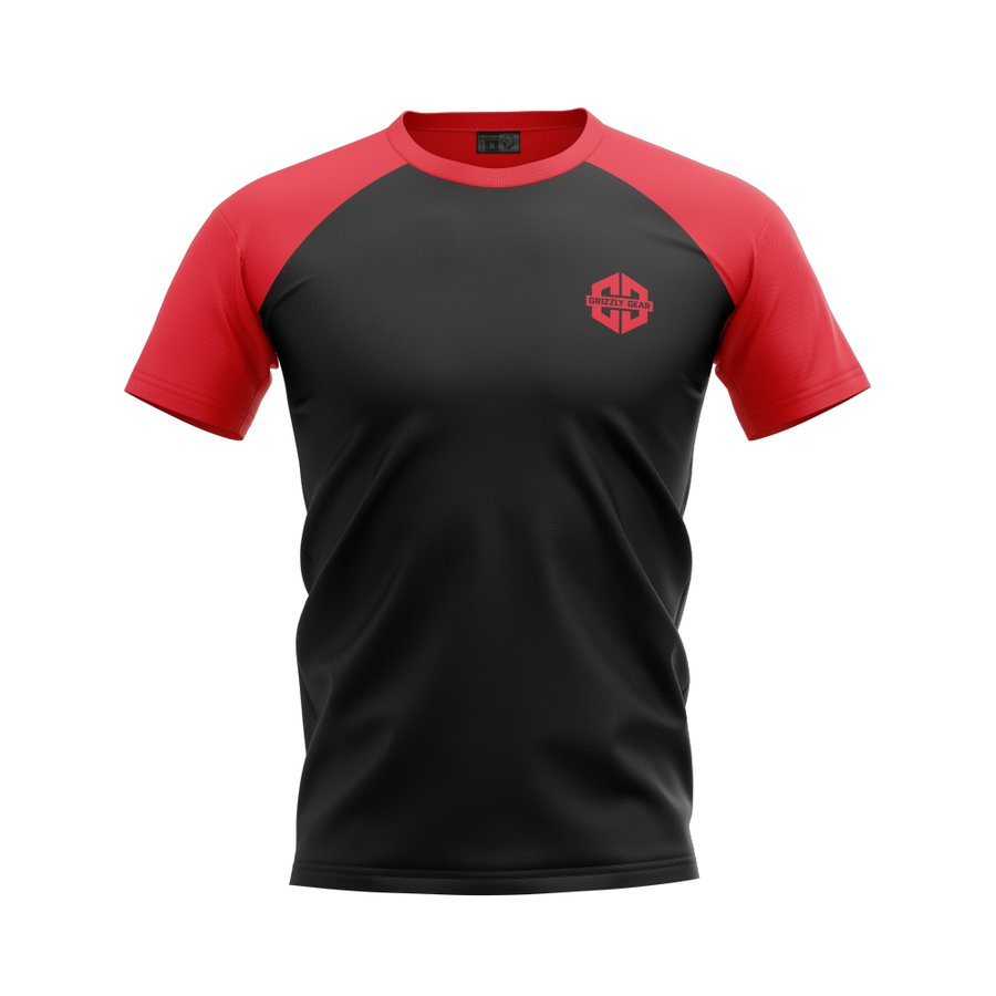 Černo-červené pánské tričko s krátkým rukávem Grizzly Gear