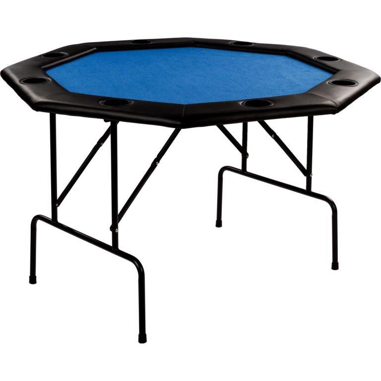 Modrý skládací pokerový stůl pro 8 osob Garthen