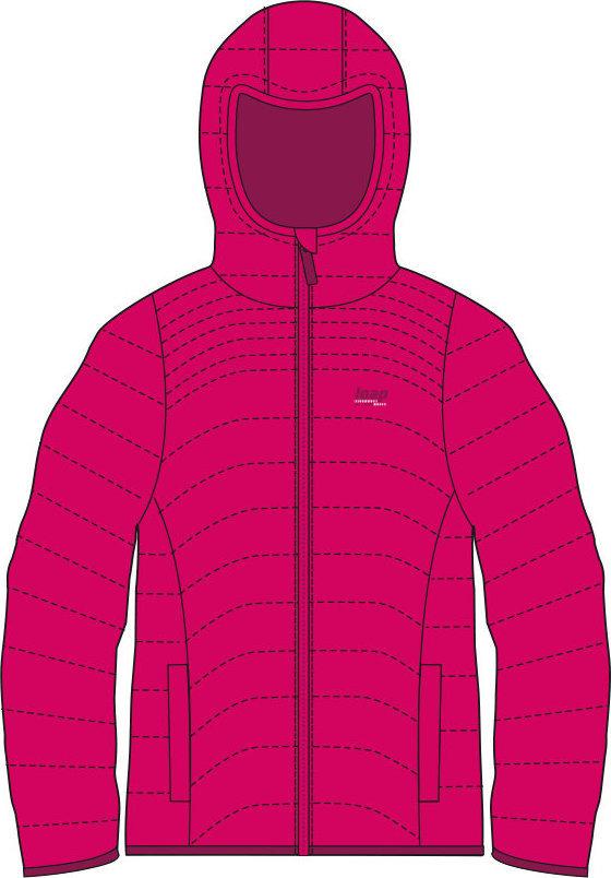 Červená zimní dívčí bunda s kapucí Loap - velikost 122-128