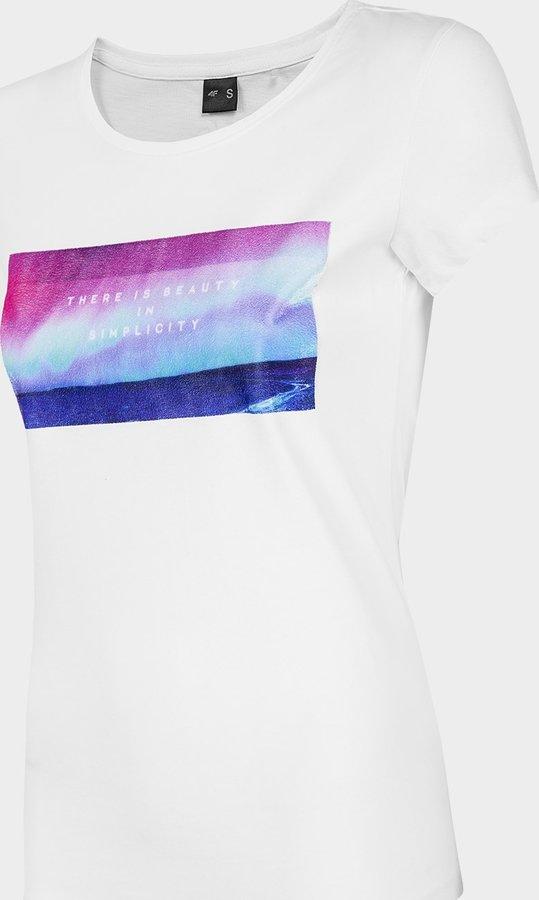 Bílé dámské tričko s krátkým rukávem 4F - velikost XS