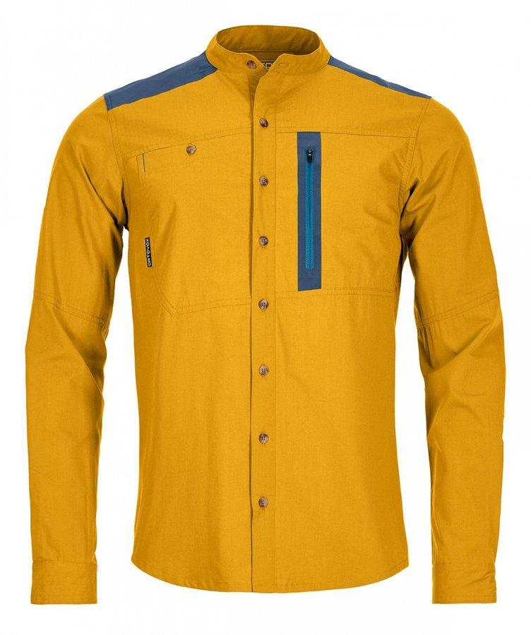Žlutá pánská turistická košile s dlouhým rukávem Ortovox