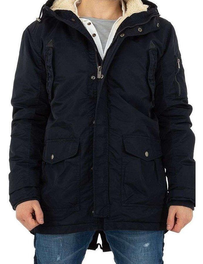 Černá zimní pánská bunda s kapucí