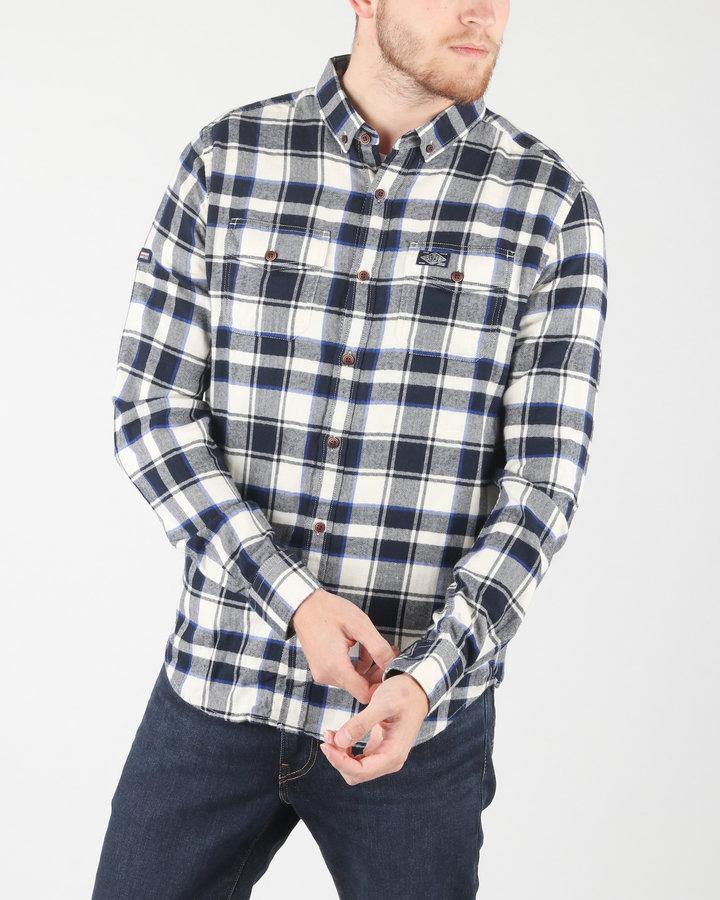 Bílo-modrá pánská košile s dlouhým rukávem SuperDry