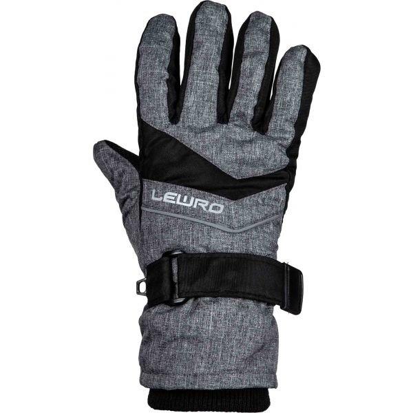 Černo-šedé dětské lyžařské rukavice Lewro - velikost 8-11