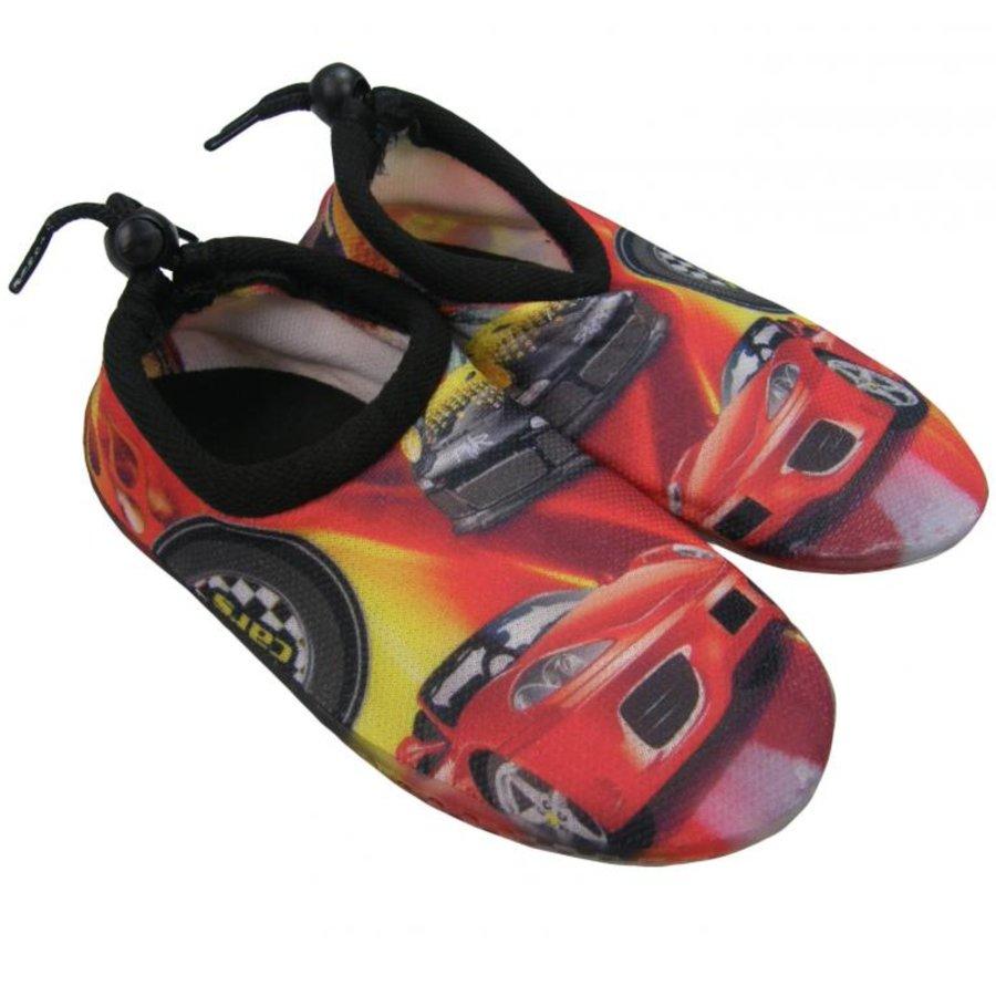 """Černo-červené dětské boty do vody SURFING, """"Auta"""", Aqua Surfing - velikost 26 EU"""
