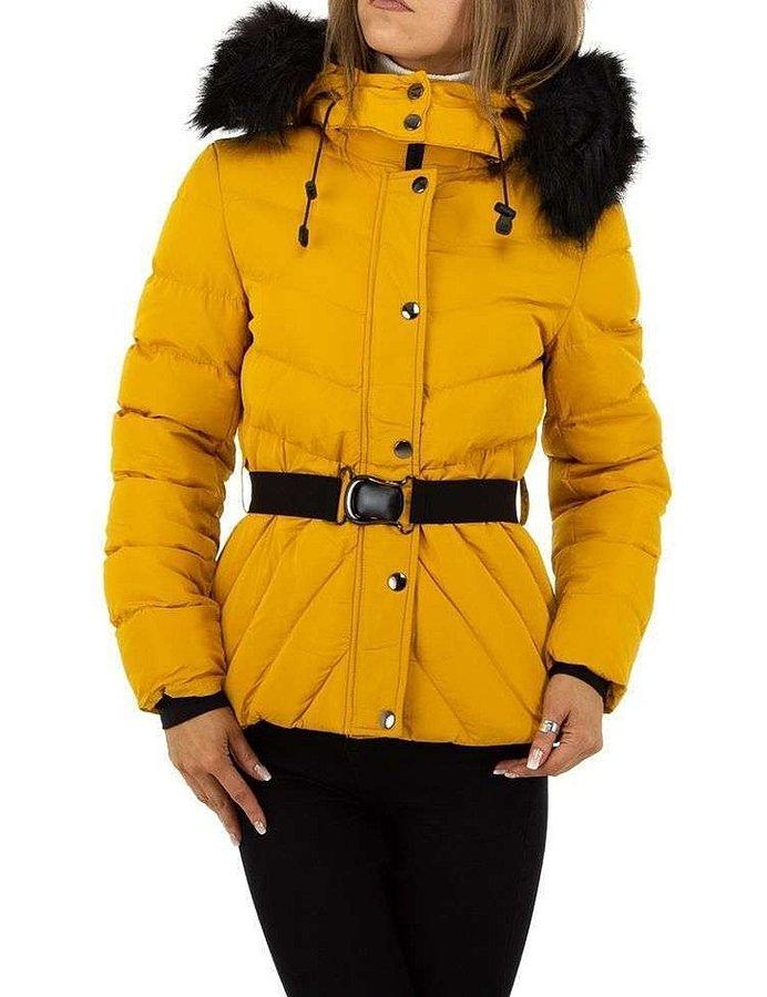 Žlutá zimní dámská bunda