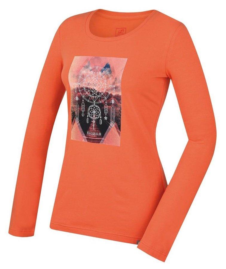 Oranžové dámské tričko s dlouhým rukávem Hannah - velikost 44