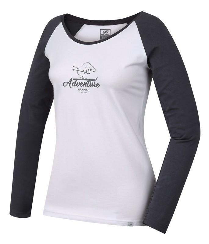 Bílo-černé dámské tričko s dlouhým rukávem Hannah