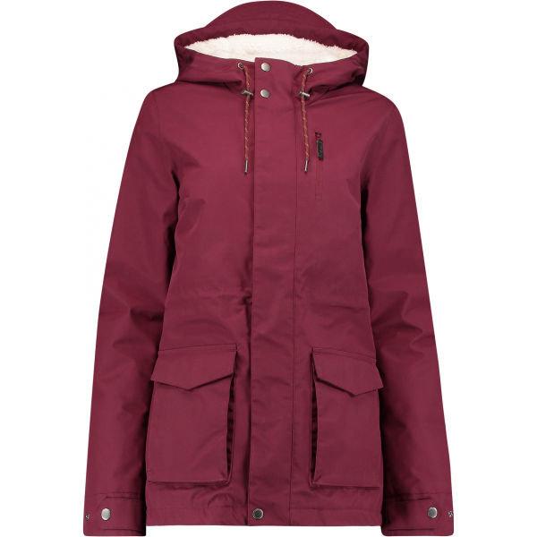 Červená zimní dámská bunda s kapucí O'Neill