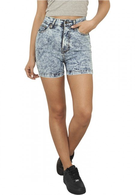 Kraťasy - Urban Classics Ladies High Waist Denim Skinny Shorts blue denim - 26