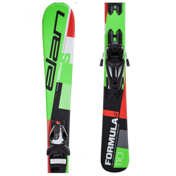 Zelené dětské lyže s vázáním Elan