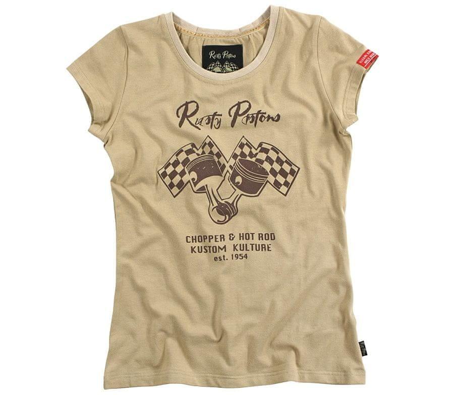 Béžové dámské motorkářské tričko s krátkým rukávem Rusty Pistons