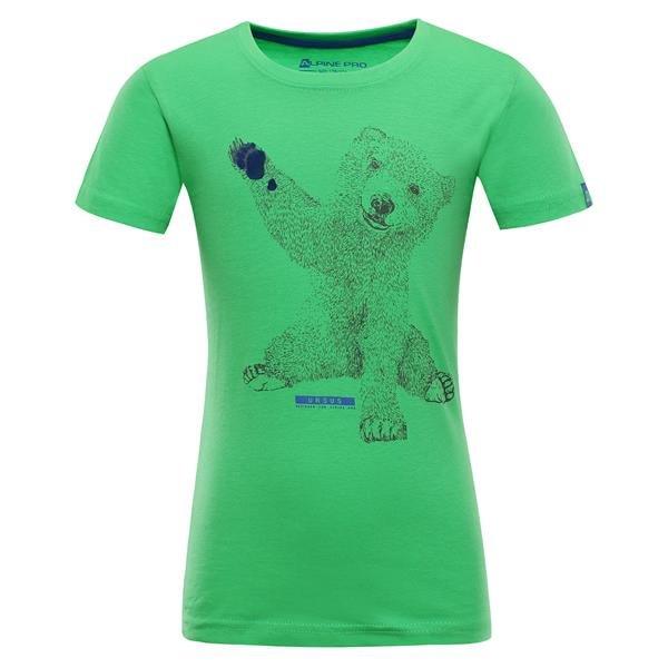 Zelené turistické tričko s krátkým rukávem Alpine Pro - velikost 116-122