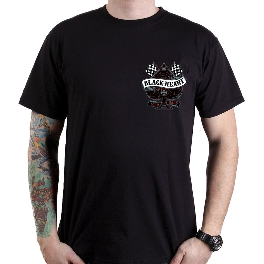 Černé motorkářské tričko Loud and Hard, Blackheart - velikost M