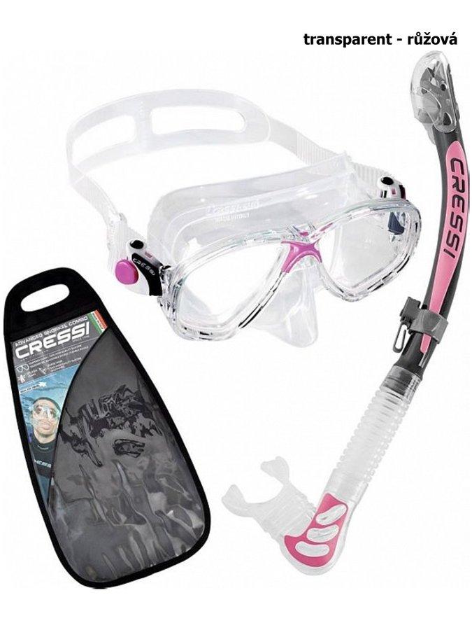 Potápěčská sada - Potápěčský set CRESSI Marea+Alpha Ultra Dry - transparent růžová
