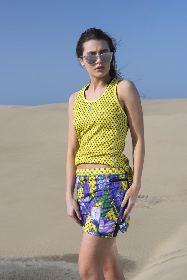Fialovo-žlutá dámská běžecká sukně Nessi - velikost XS