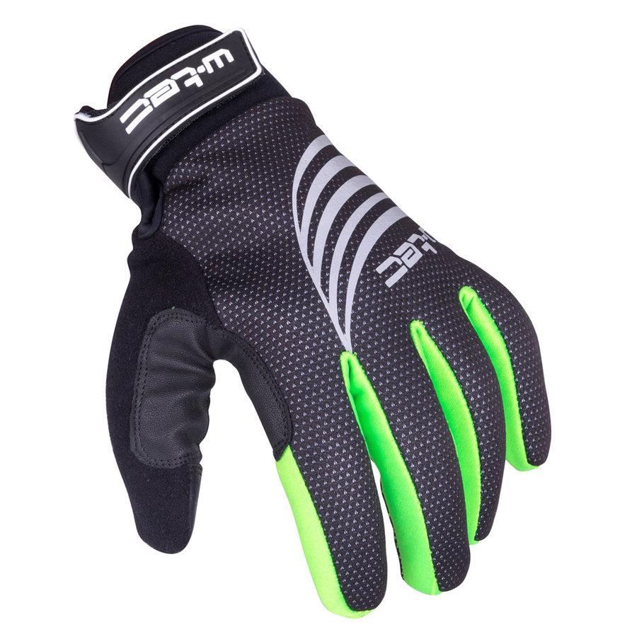 Černo-zelené polyesterové zimní pánské nebo dámské rukavice na běžky Grutch AMC-1040-17, W-TEC