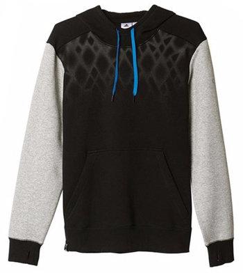 Černo-šedá pánská mikina s kapucí Adidas - velikost XXL