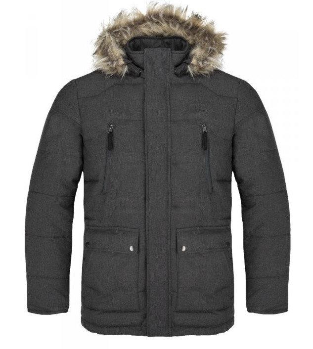 Šedá zimní pánská bunda s kapucí Loap - velikost S