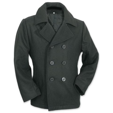 Kabát - Kabát PEA COAT ČERNÝ