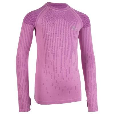 Růžové dívčí tričko na atletiku s dlouhým rukávem Kalenji