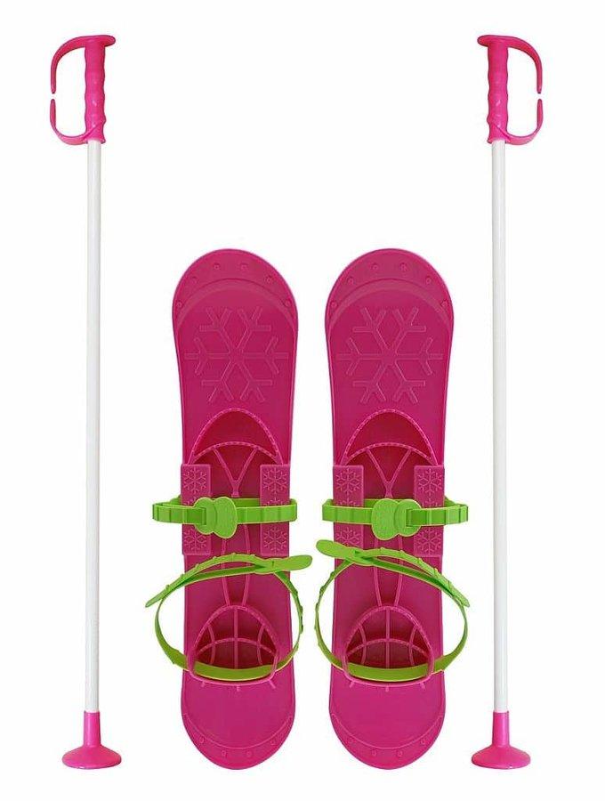 Růžová dětská sada na sjezdové lyžování Sulov - délka 42 cm