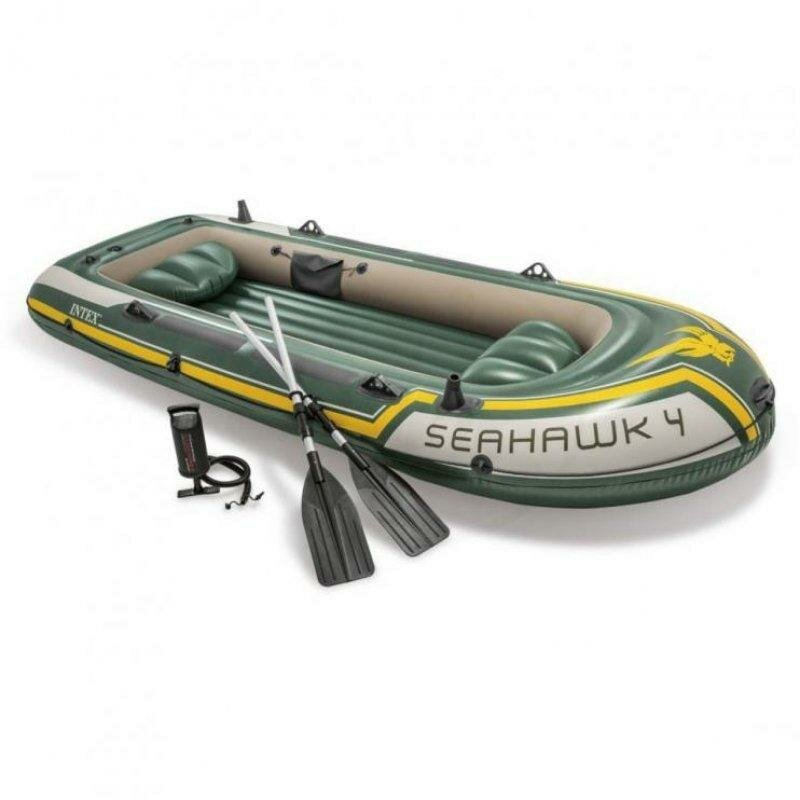 Zelený nafukovací člun s nafukovacím dnem pro 4 osoby Seahawk 4, INTEX