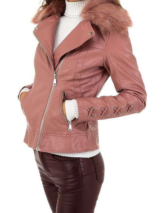 Růžová zimní dámská bunda