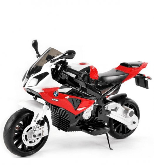 Bílo-červená dětská elektrická motorka BMW S 1000, Beneo
