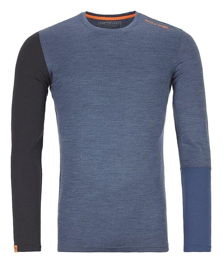 Černo-modré pánské termo tričko s dlouhým rukávem Ortovox
