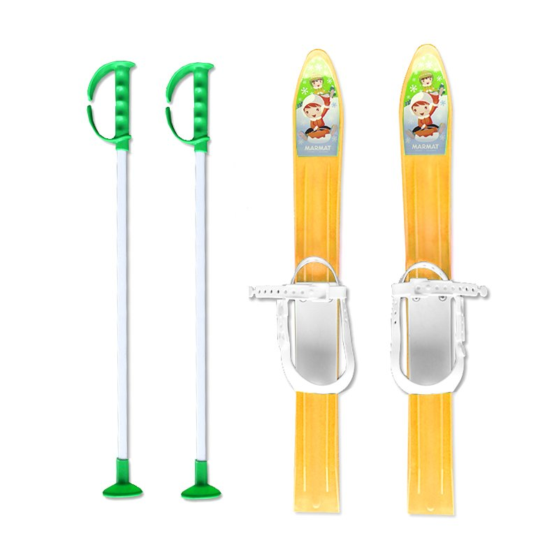 Žlutá dětská sada na sjezdové lyžování Master - délka 60 cm