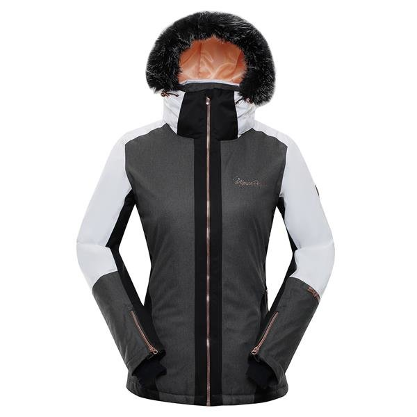 Bílo-černá zimní dámská bunda s kapucí Alpine Pro - velikost XS