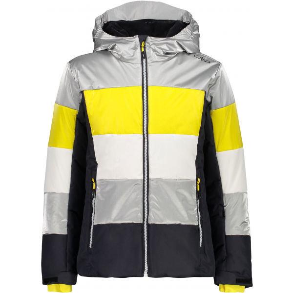 Bílo-šedá dívčí lyžařská bunda CMP