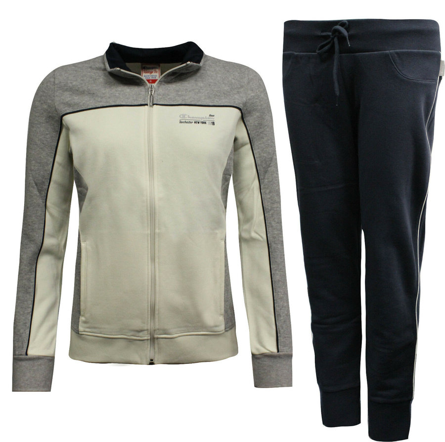 Mikina - Champion Athletic Apparel Tracksuit Navy Creme Grey Velikost: M