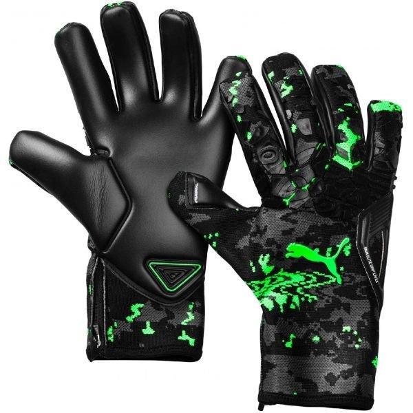 Černo-zelené pánské brankářské fotbalové rukavice Puma