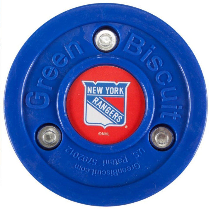 Modrý hokejový puk off - ice New York Rangers, Green Biscuit