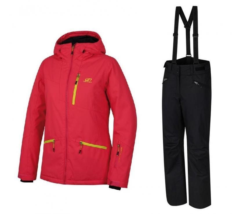 Černo-červený dámský lyžařský komplet Hannah