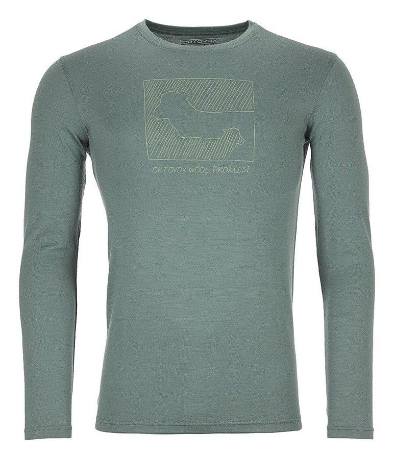 Zelené pánské termo tričko s dlouhým rukávem Ortovox