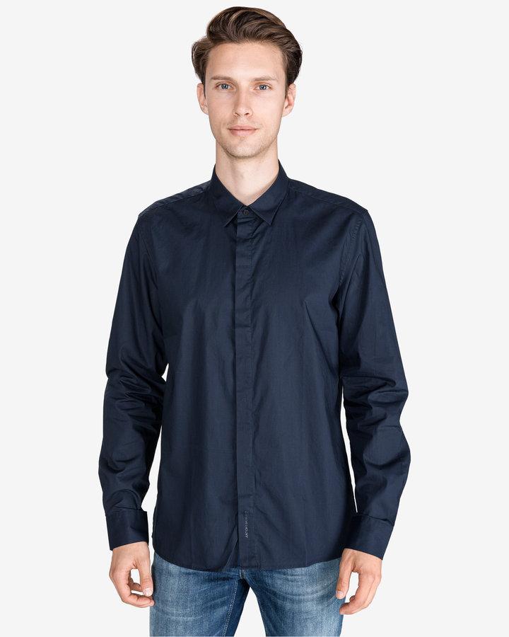 Modrá pánská košile s dlouhým rukávem Antony Morato