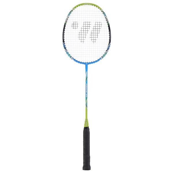 Modro-zelená raketa na badminton Fusiontec 970, Wish - délka 66,5 cm
