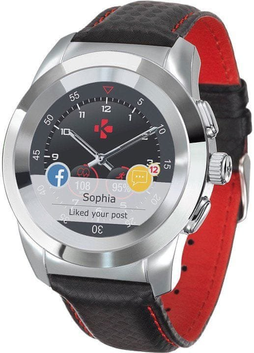 Stříbrné analogové chytré hodinky ZeTime Premium, MyKronoz