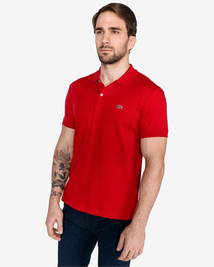 Červená pánská polokošile s krátkým rukávem Lacoste
