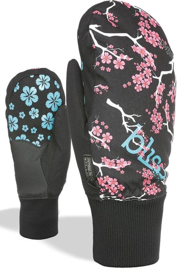 Černo-růžové dámské lyžařské rukavice Level