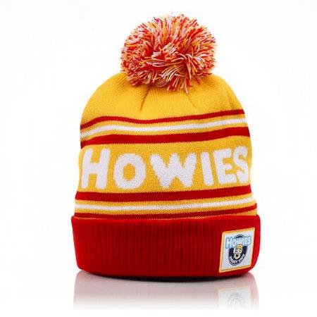 Červeno-žlutá zimní čepice Howies