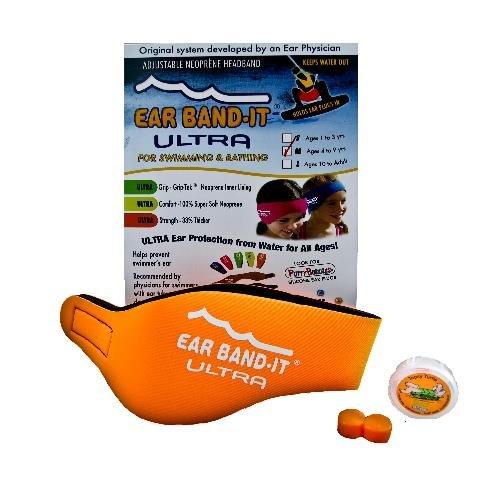 Oranžová neoprénová koupací čelenka Ultra, Ear Band-It®