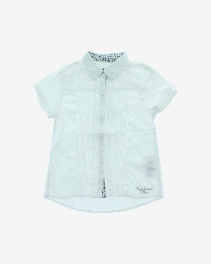 Bílá dětská dívčí košile s krátkým rukávem Pepe Jeans