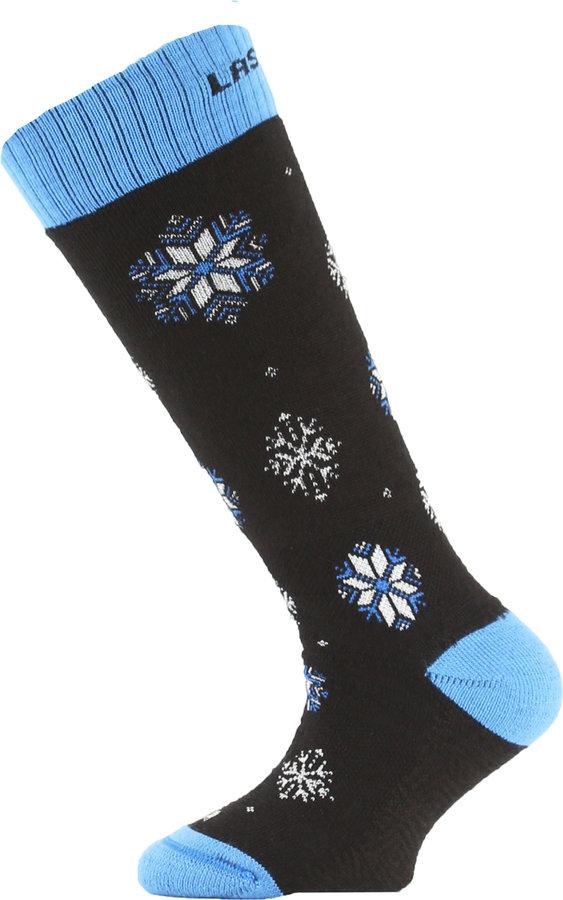 Černo-modré dětské lyžařské ponožky Lasting - velikost 24-28 EU