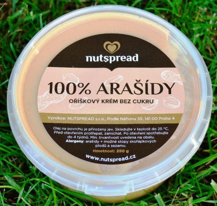 Máslo - 100% arašídové máslo Nutspread Smooth 250 g
