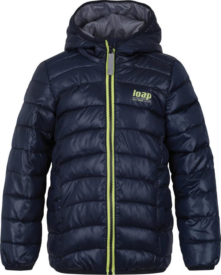 Modrá dětská zimní bunda s kapucí Loap - velikost 112-116